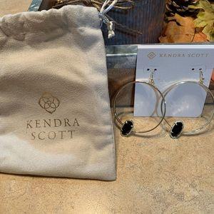 Kendra Scott Black Druzy and Gold Hoop Earrings!!